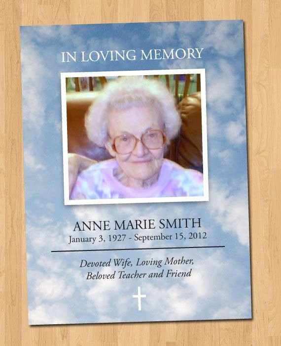 In Loving Memory Card Template Fresh 5x7 Funeral Card Diy Print 1 Sided by Echosinink On