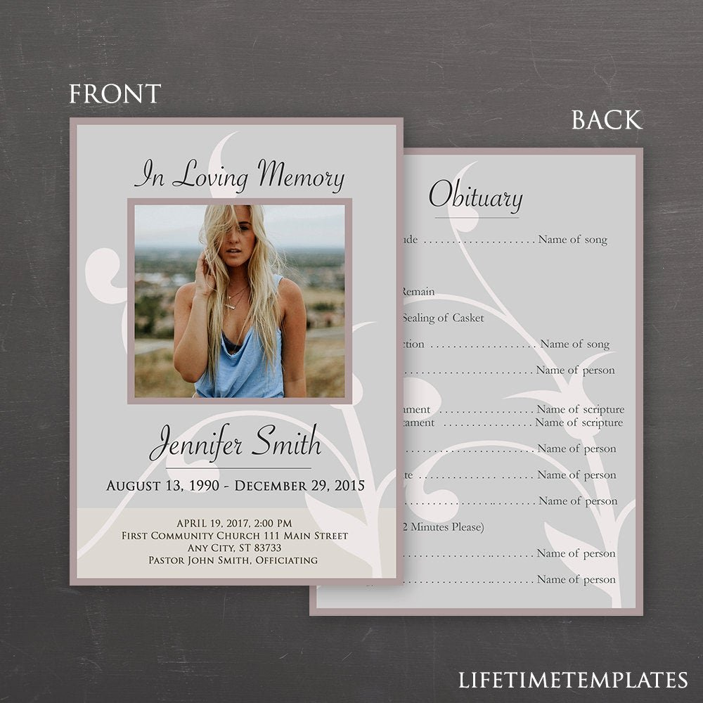 In Loving Memory Card Template Lovely In Loving Memory Funeral Template Shop Psd Instant
