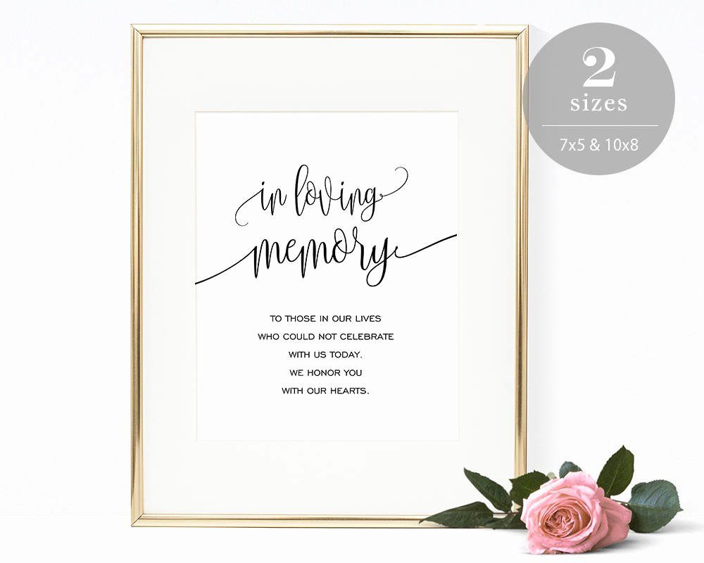 In Loving Memory Card Template Lovely In Loving Memory Sign Template Printable In Memory Sign
