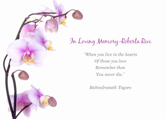 In Loving Memory Card Template Lovely Memorial Service for Roberta Line Invitations & Cards