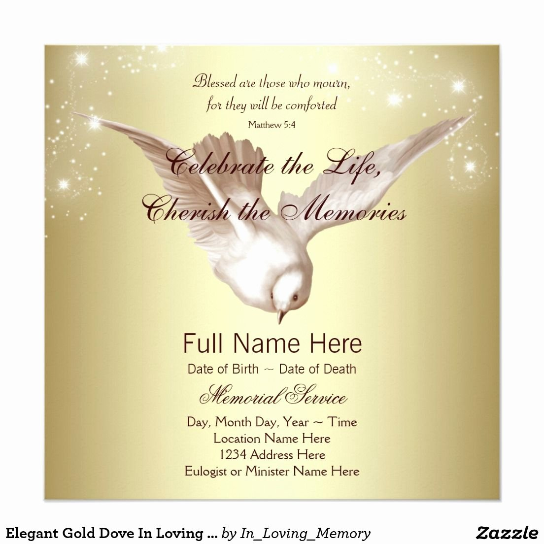 In Loving Memory Card Template Luxury Elegant Gold Dove In Loving Memory Memorial Invitation