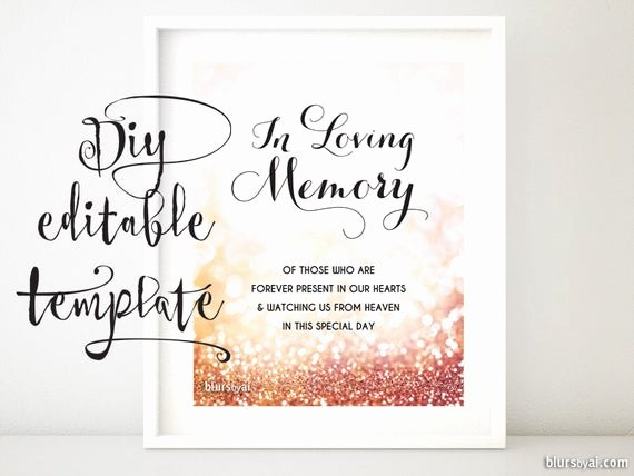 In Loving Memory Card Template Luxury Printable Memorial Sign Template Diy Wedding Memorial