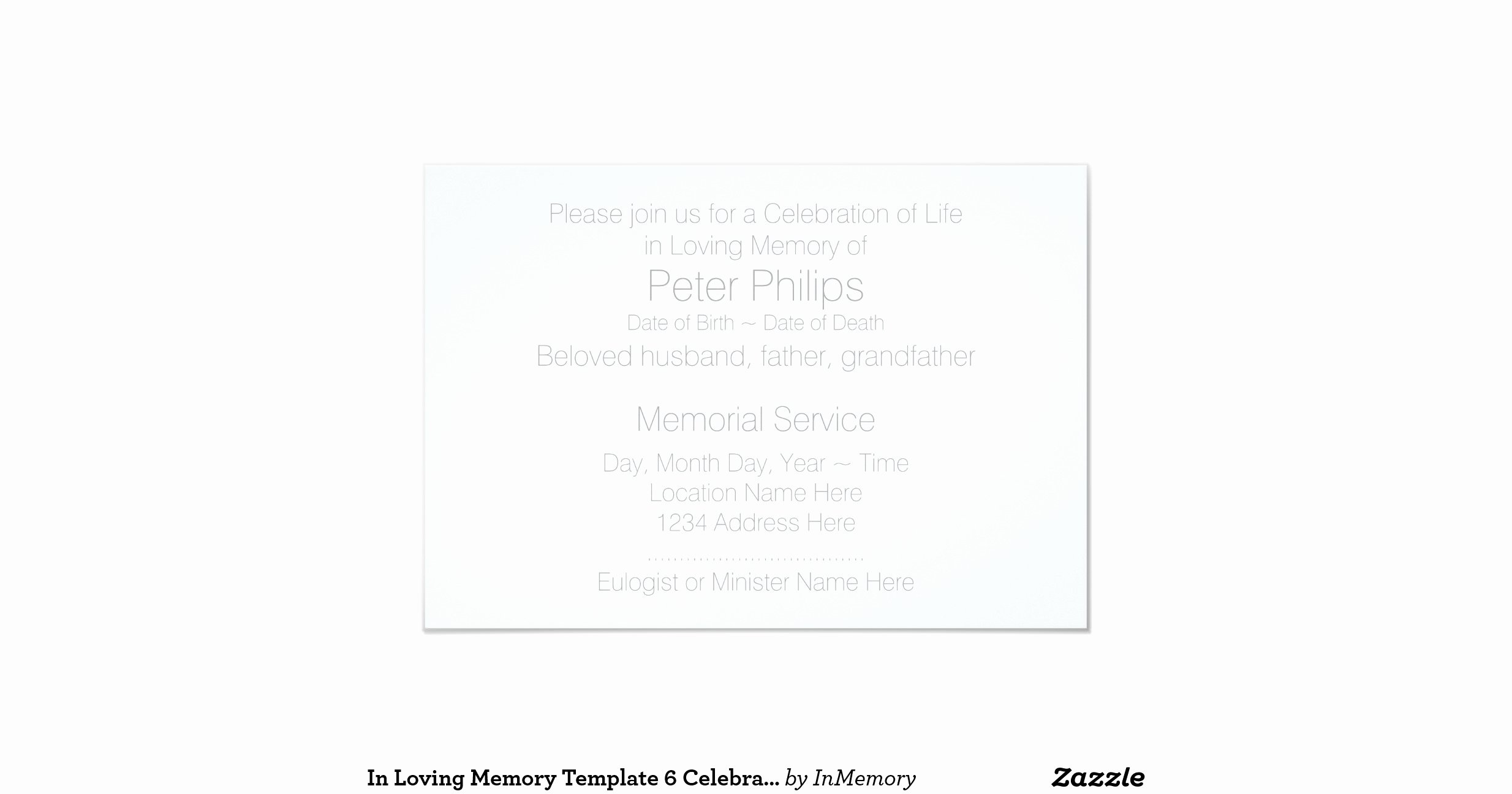 "In Loving Memory Card Template Unique In Loving Memory Template 6 Celebration Of Life 3 5"" X 5"