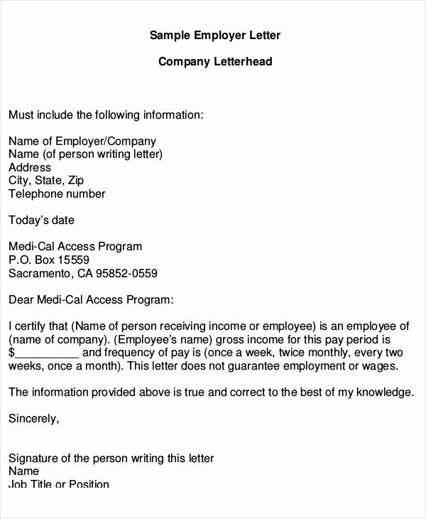 Income Verification Letter for Apartment New Employer Proof In E Letter Printables