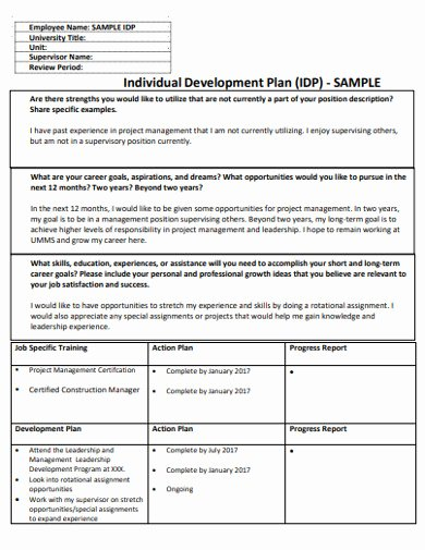 Individual Development Plan Sample Inspirational Free 18 Individual Development Plan Examples & Samples In