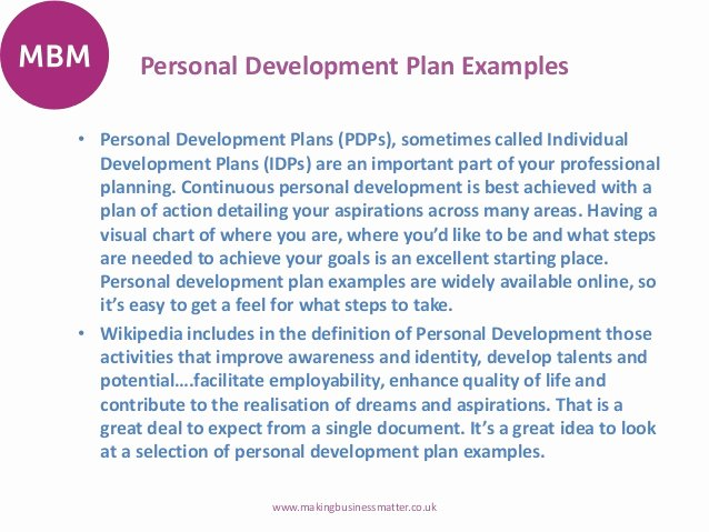 Individual Development Plan Sample Lovely Personal Development Plans