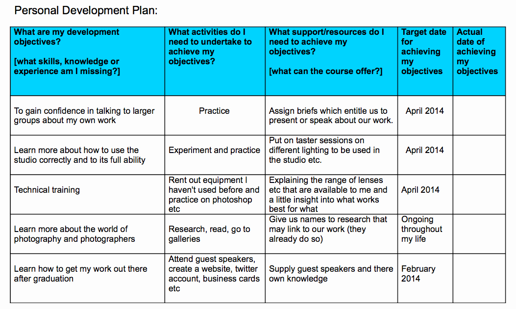 Individual Development Plan Sample Unique Personal Development Plan Professional Frameworks 3
