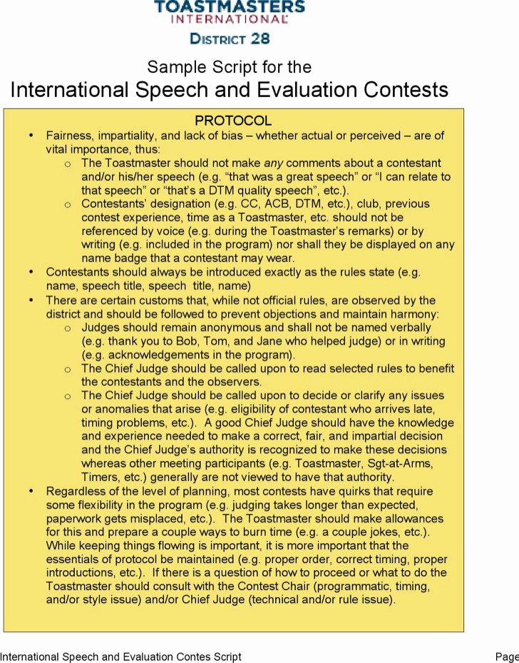 Individual Speech Evaluation form Beautiful 19 toastmaster Evaluation Template Free Download