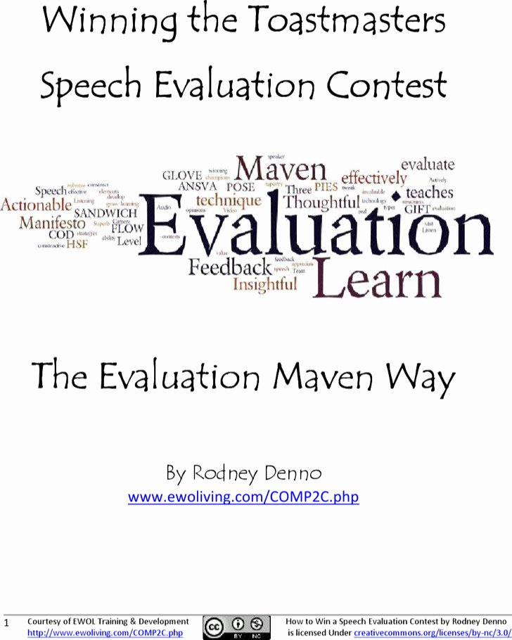 Individual Speech Evaluation form Elegant 19 toastmaster Evaluation Template Free Download