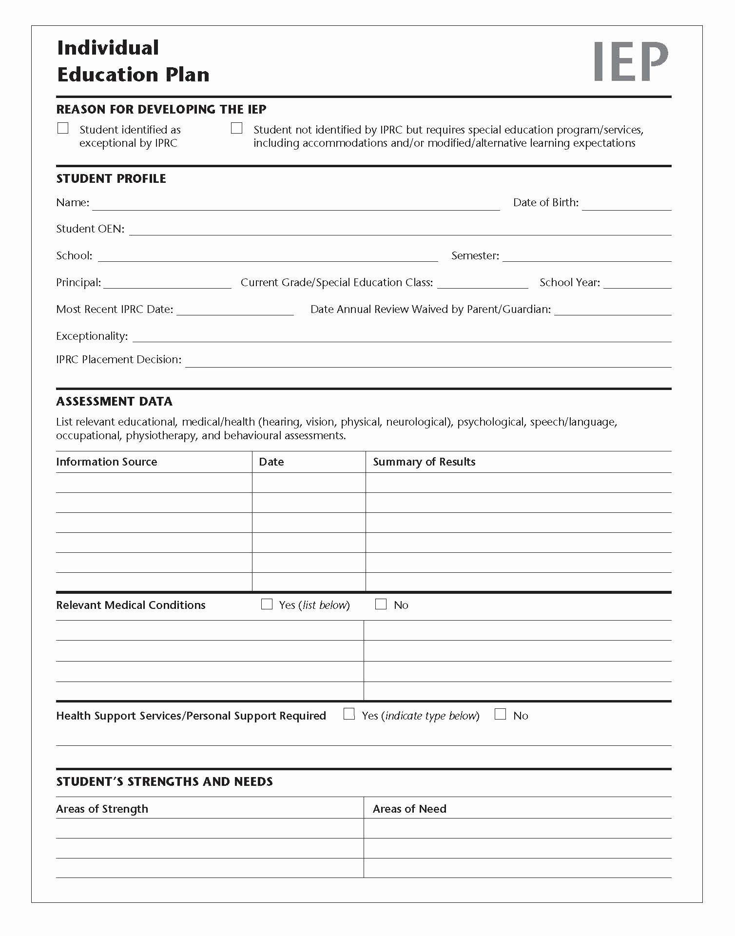 Individual Speech Evaluation form New Tario Schools Kindergarten to Grade 12 Policy and