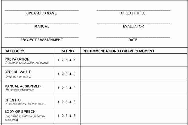 Individual Speech Evaluation form Unique 19 toastmaster Evaluation Template Free Download