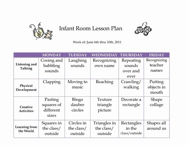 Infant Weekly Lesson Plan Elegant 17 Best Images About Infant Curriculum On Pinterest