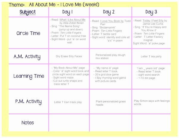 Infant Weekly Lesson Plan Elegant All About Me Weekly Lesson Plan Play Learn Love