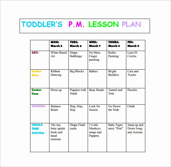 Infant Weekly Lesson Plan Fresh toddler Lesson Plan Template – 10 Free Word Excel Pdf