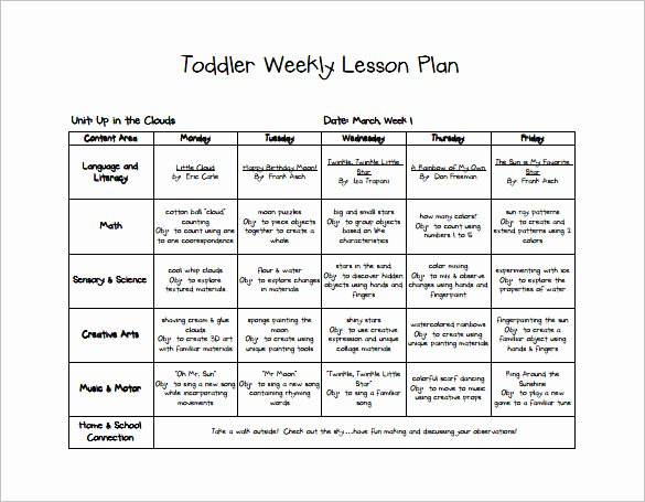 Infant Weekly Lesson Plan Luxury toddler Lesson Plan Template 9 Free Pdf Word format
