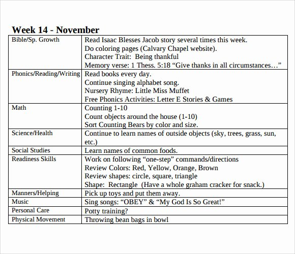 Infant Weekly Lesson Plan New Sample toddler Lesson Plan 8 Documents In Pdf Word