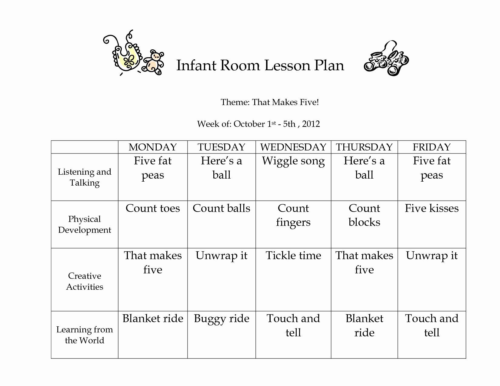 Infant Weekly Lesson Plan Unique Infant Lesson Plan Ideas