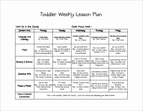 Infant Weekly Lesson Plan Unique toddler Weekly Lesson Plan Lesson Plan Template