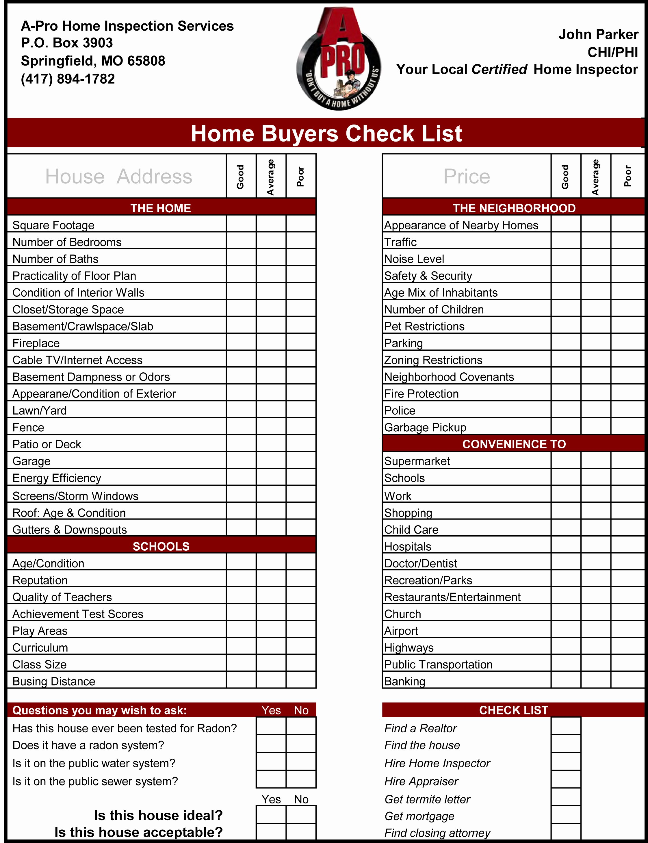 Inspection Checklist Template Excel Luxury Home Inspection Checklist