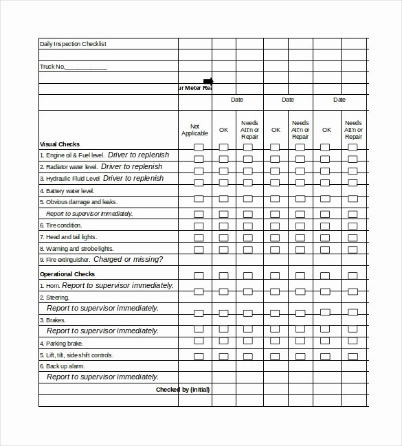 Inspection Checklist Template Excel New Daily Checklist Template 29 Free Word Excel Pdf