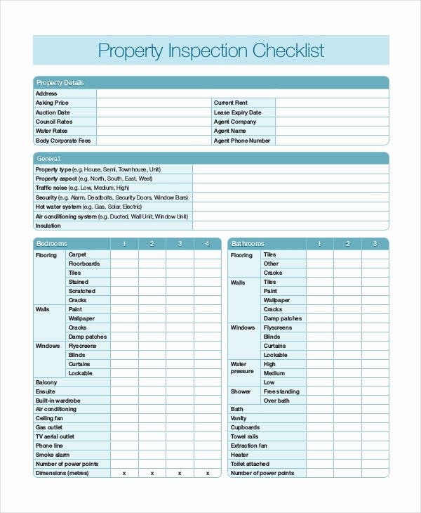Inspection Checklist Template Excel New Home Inspection Checklist 17 Word Pdf Documents