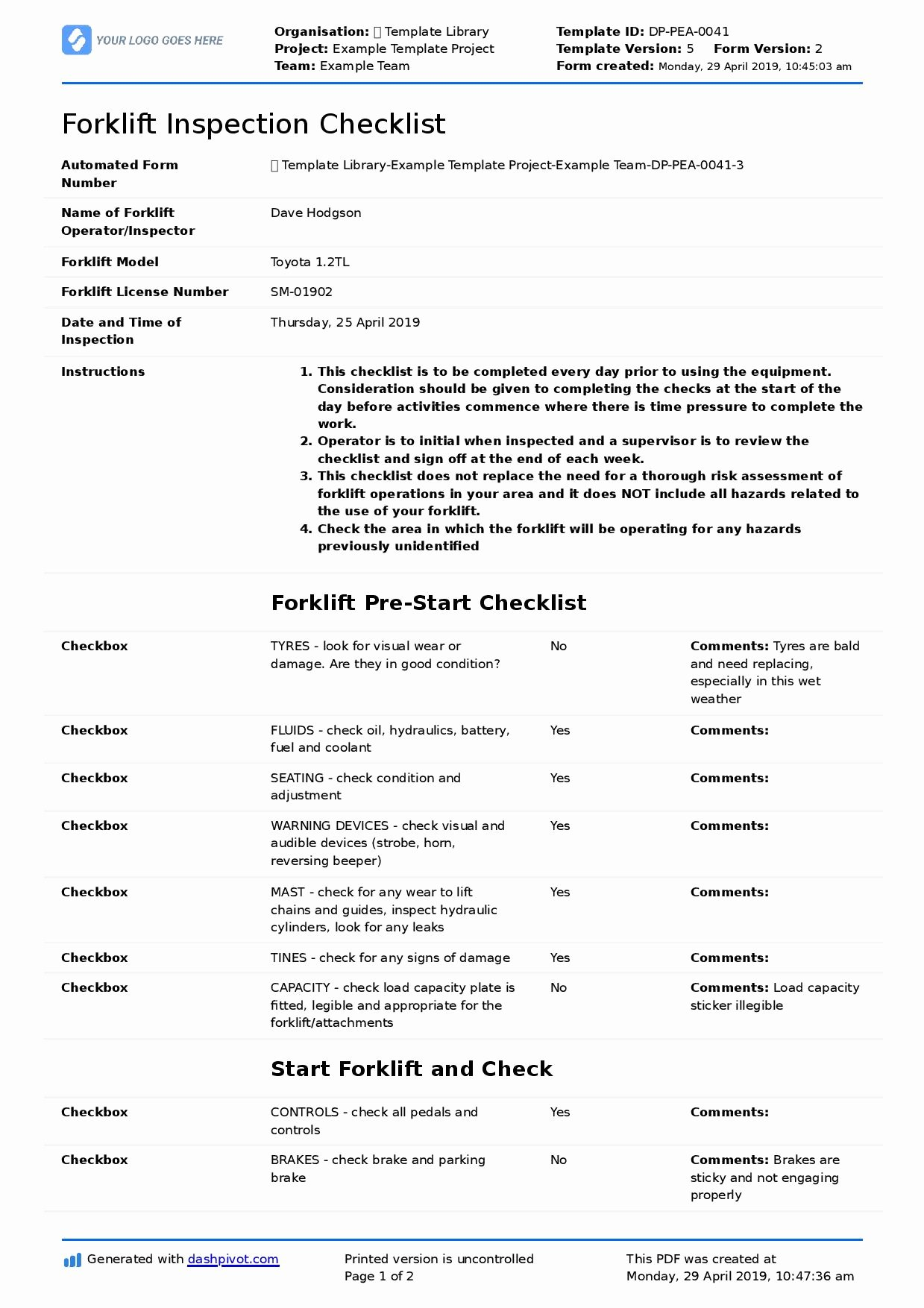 Inspection Checklist Template Excel Unique forklift Inspection Checklist for Daily Pre Use & Safety