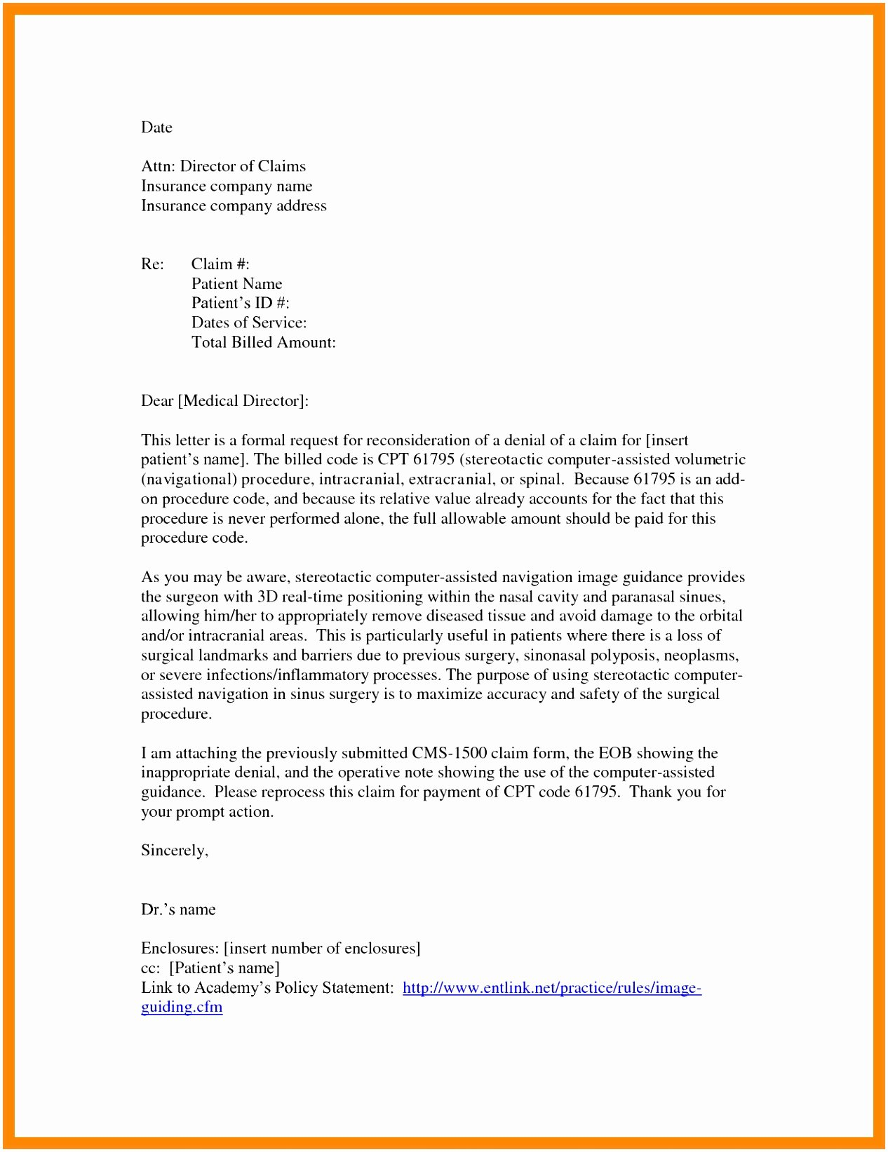 Insurance Appeal Letter Samples Awesome 5 Appeal Letter to Insurance Pany From Provider Tuyiw