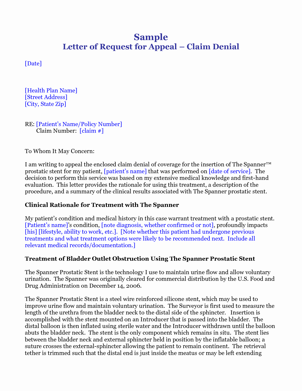 post professional medical appeal letters