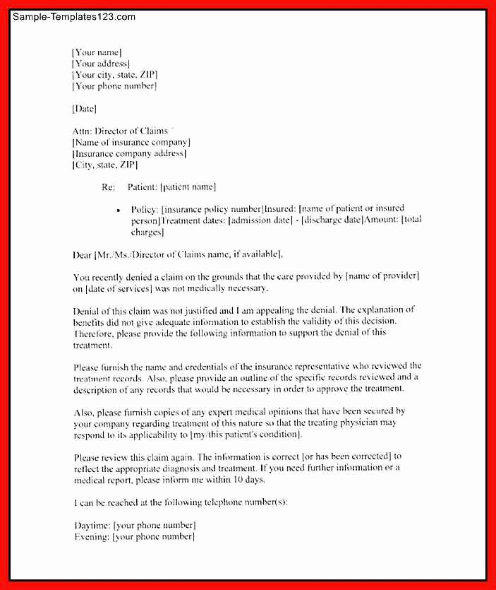 Insurance Appeal Letter Samples Inspirational Insurance Letter Template