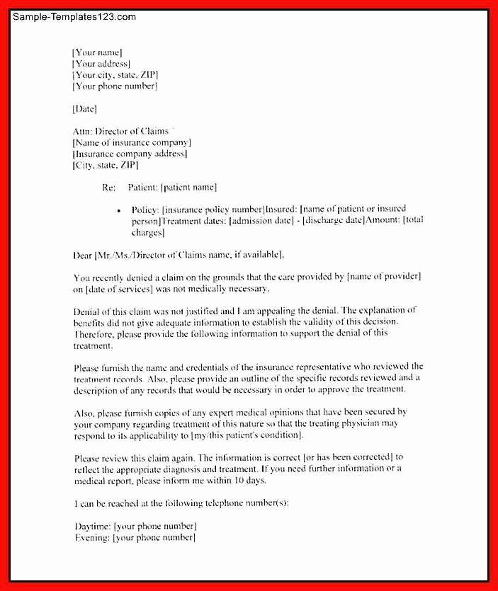 Insurance Appeal Letter Samples Inspirational Insurance Letter Template