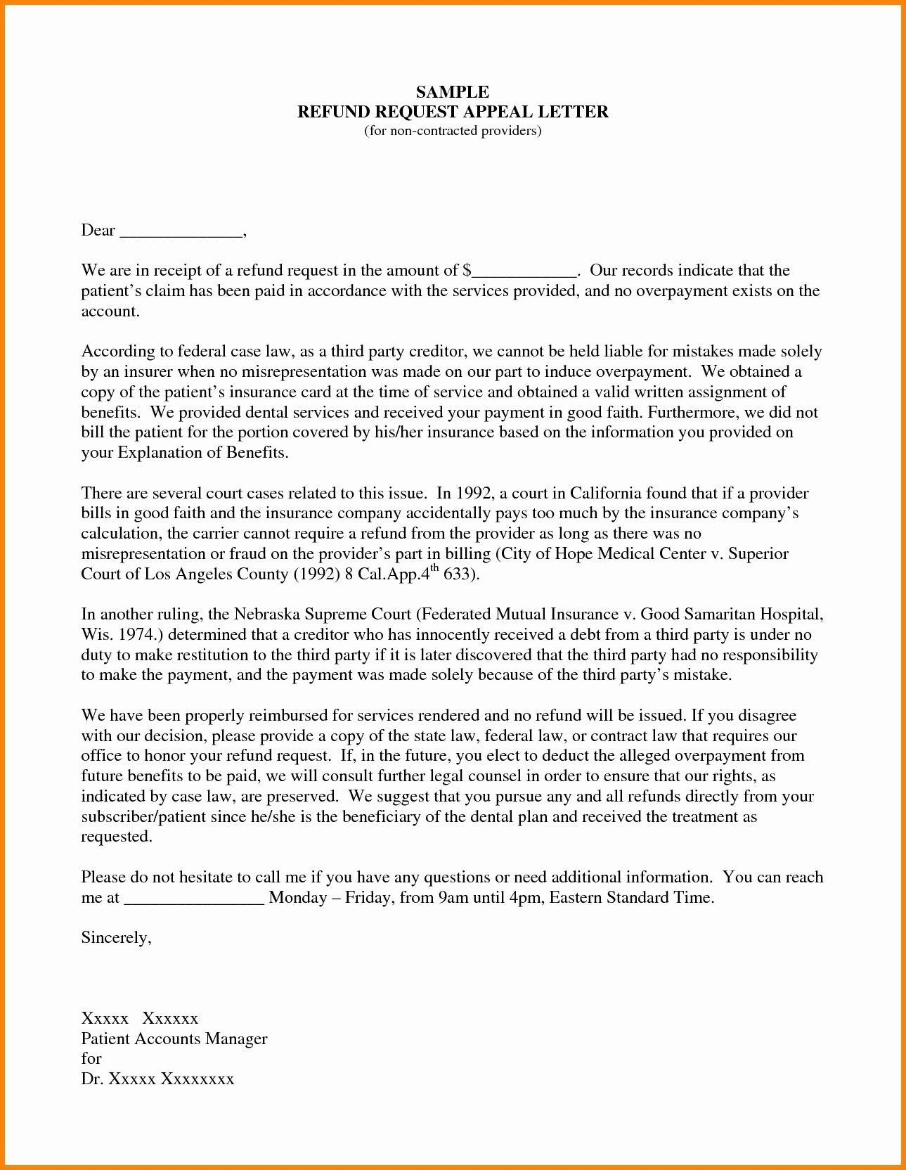 Insurance Appeal Letter Samples Inspirational Sample Insurance Appeal Letter for No Authorization 2018