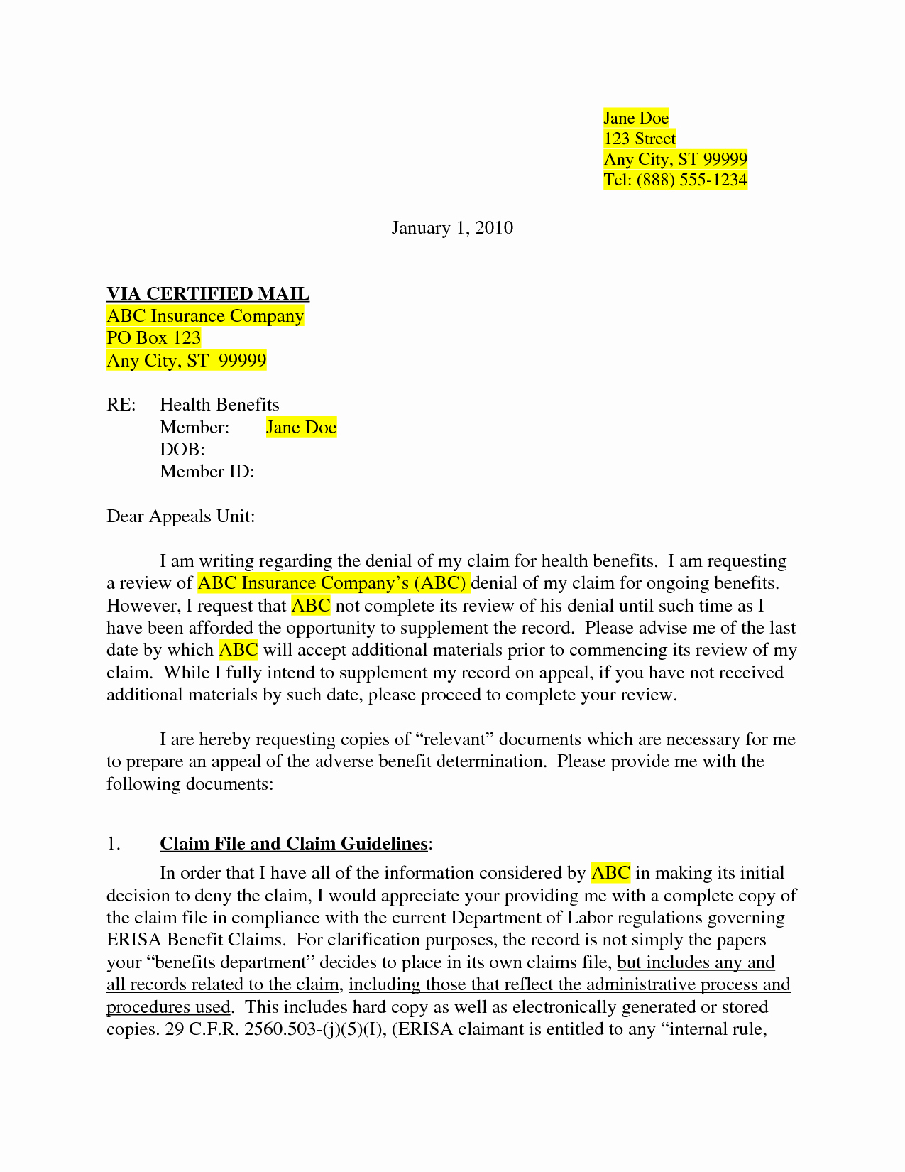 Insurance Appeal Letter Samples New Best S Of Medical Claim Appeal Letter Sample