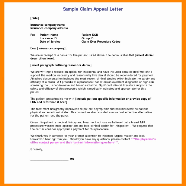 Insurance Appeal Letter Samples Unique 8 Appeal Letter to Insurance Pany