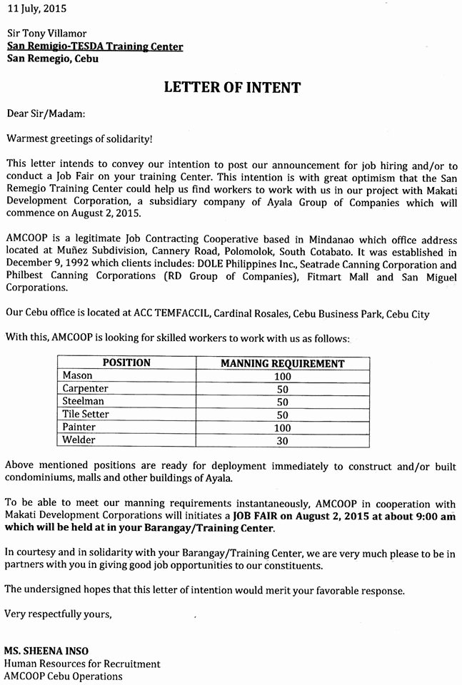 Intent to Hire Letter Awesome the Bogo Times City Of Bogo and 4th District Of Cebu