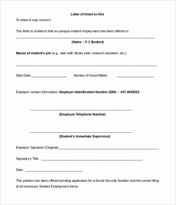 Intent to Hire Letter Beautiful 11 Sample Employment Letter Of Intent Templates Pdf