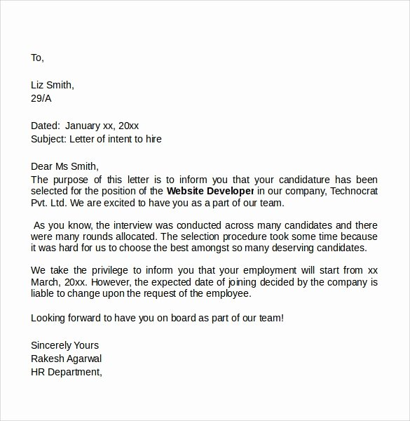 Intent to Hire Letter Beautiful Sample Letter Of Intent for A Job 7 Free Documents In