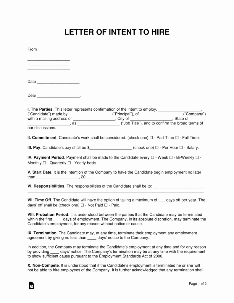Intent to Hire Letter Fresh Free Intent to Hire Letter Of Intent Template Pdf