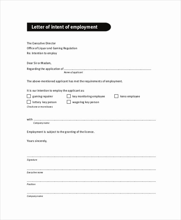 Intent to Hire Letter Luxury Sample Letter Of Intent 47 Examples In Pdf Word