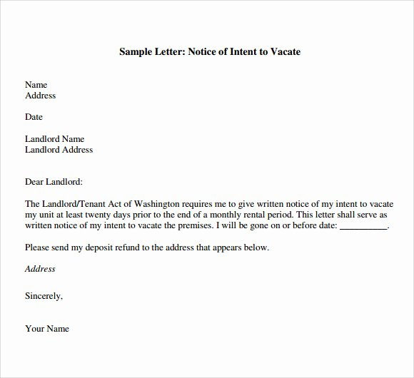 Intent to Vacate Apartment Best Of Letter Of Intent to Vacate 7 Download Free Documents In