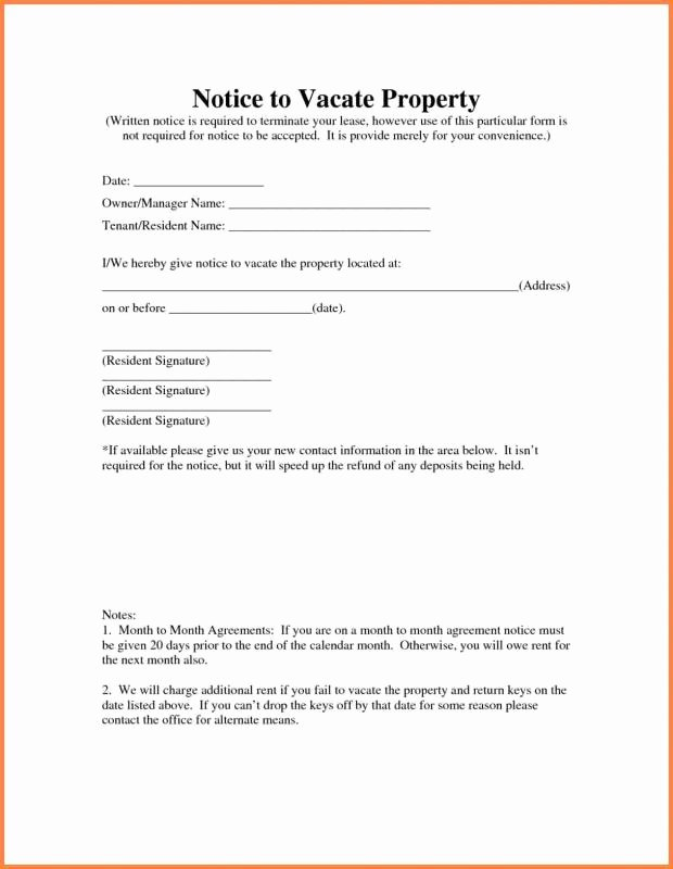 Intent to Vacate Apartment Inspirational Landlord Notice to Vacate