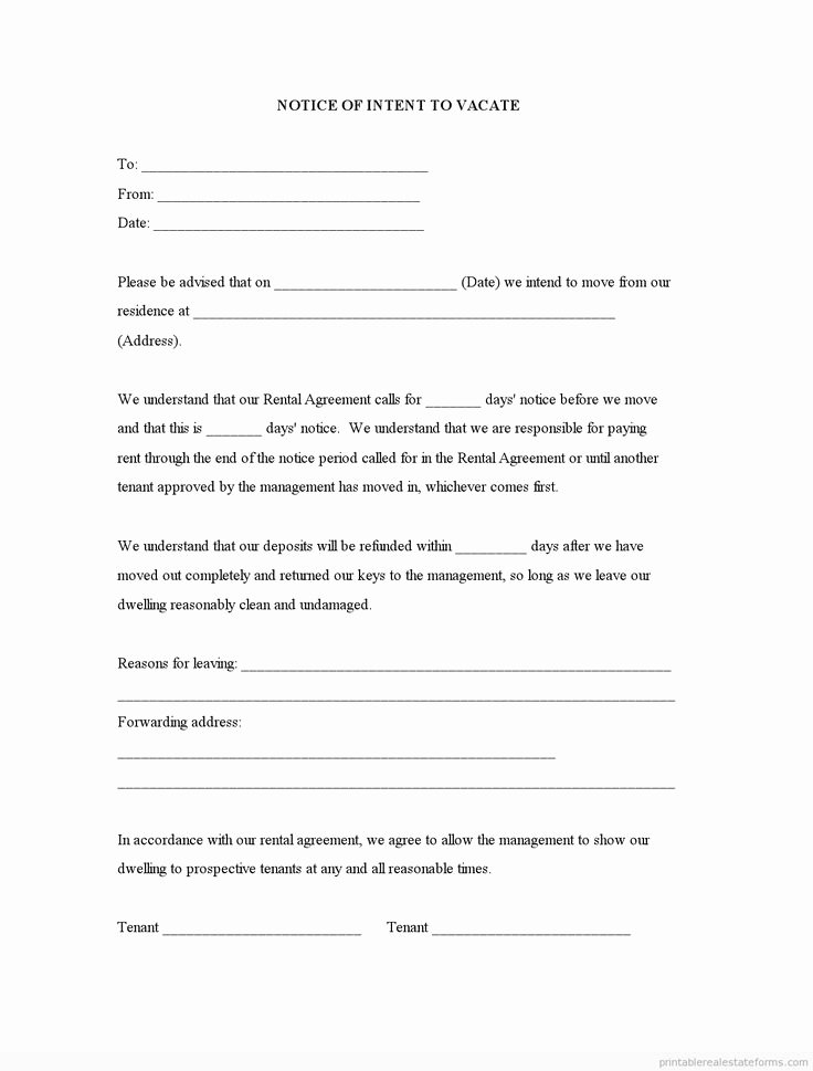 Intent to Vacate Letter Template Beautiful Sample Printable Notice Of Intent to Vacate form