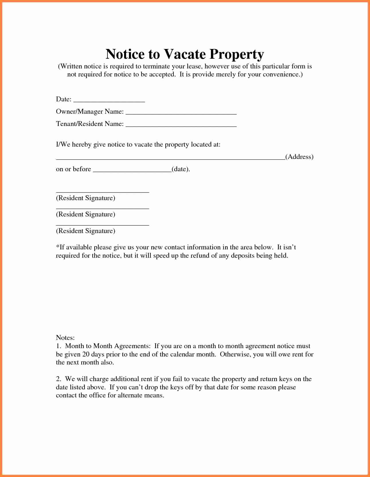 Intent to Vacate Letter Template Best Of 6 Tenant Vacate Notice Sample