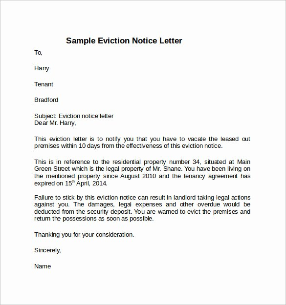 Intent to Vacate Letter Template New Notice to Vacate Letter