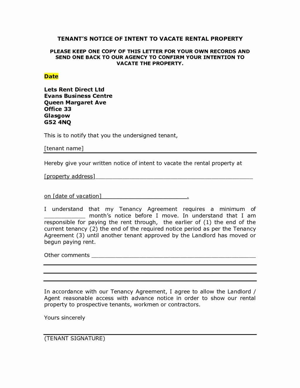 Intent to Vacate Sample Letter Best Of Landlord Notice Letter to Tenant Template Examples