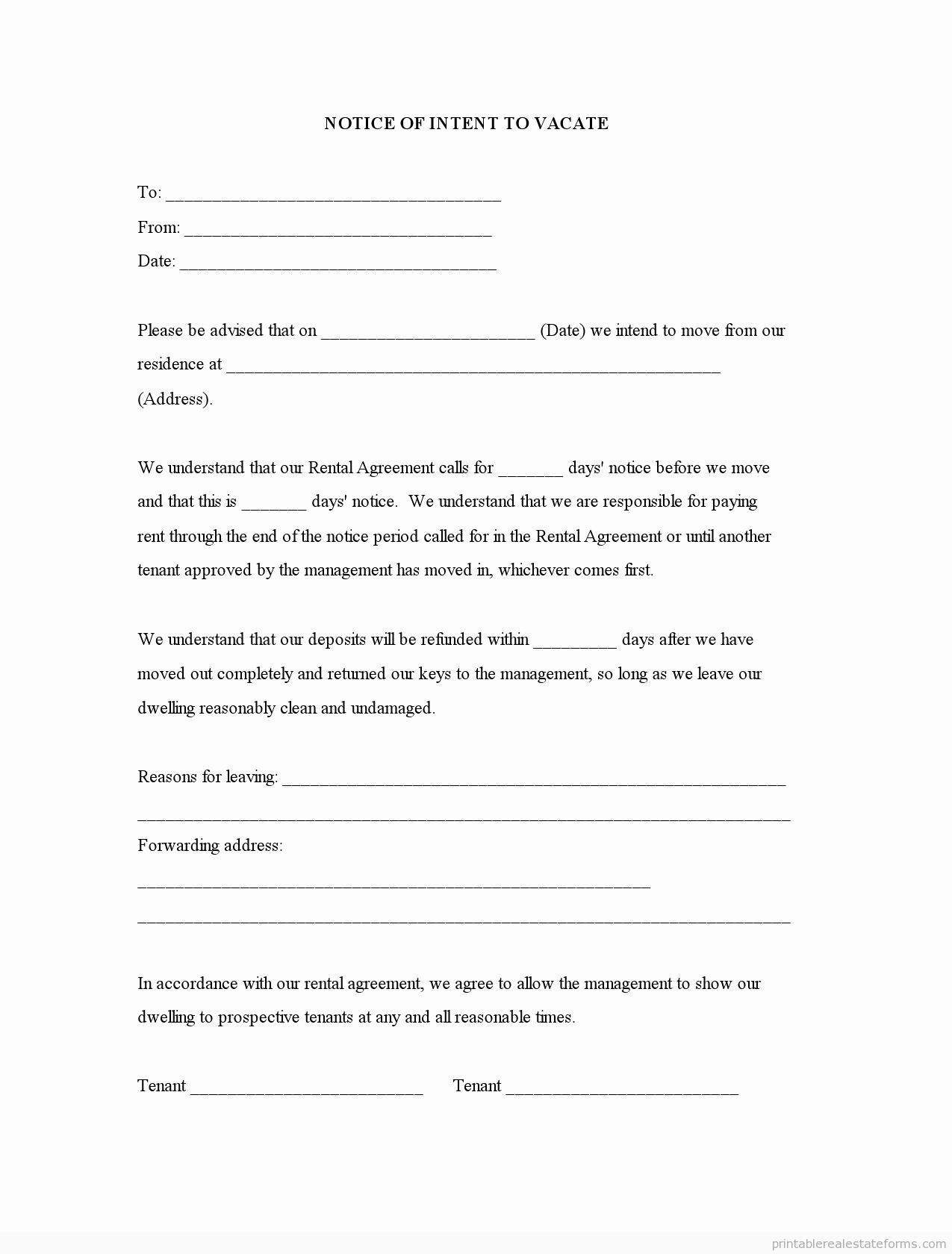 Intent to Vacate Sample Letter Inspirational Sample Printable Notice Of Intent to Vacate form