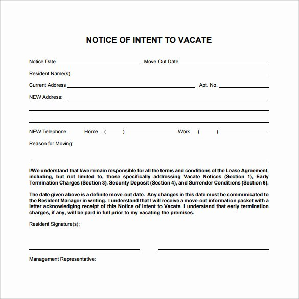 Intent to Vacate Sample Letter Lovely Intent to Vacate Letter – 7 Free Samples Examples & formats