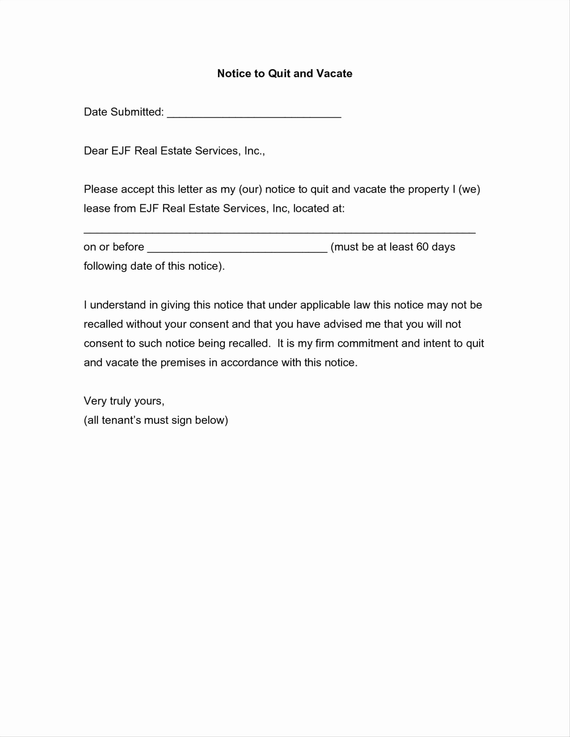 Intent to Vacate Sample Letter New Intent to Vacate Letter Template Examples