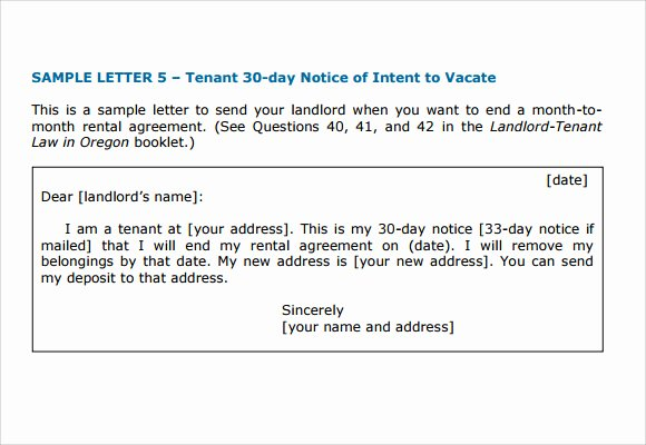 Intent to Vacate Sample Letter Unique Letter Of Intent to Vacate 7 Download Free Documents In