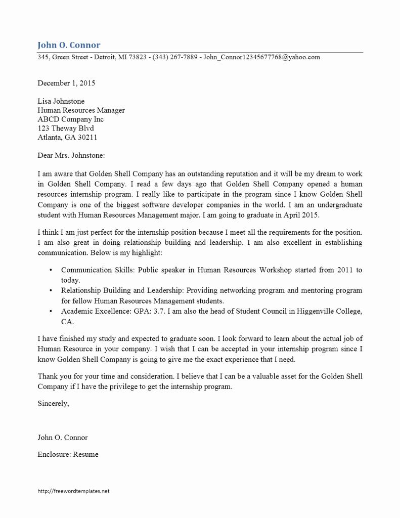 Internship Cover Letter Sample Best Of Internship Cover Letter