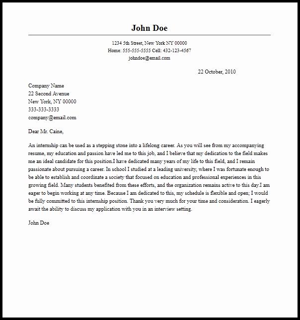 Internship Cover Letter Sample Elegant Professional Internship Cover Letter Sample & Writing